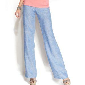 NWT High Waist Chambray wide leg pants Linen Sz 8